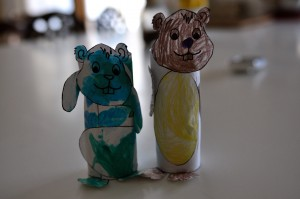 Finished toilet paper groundhogs!